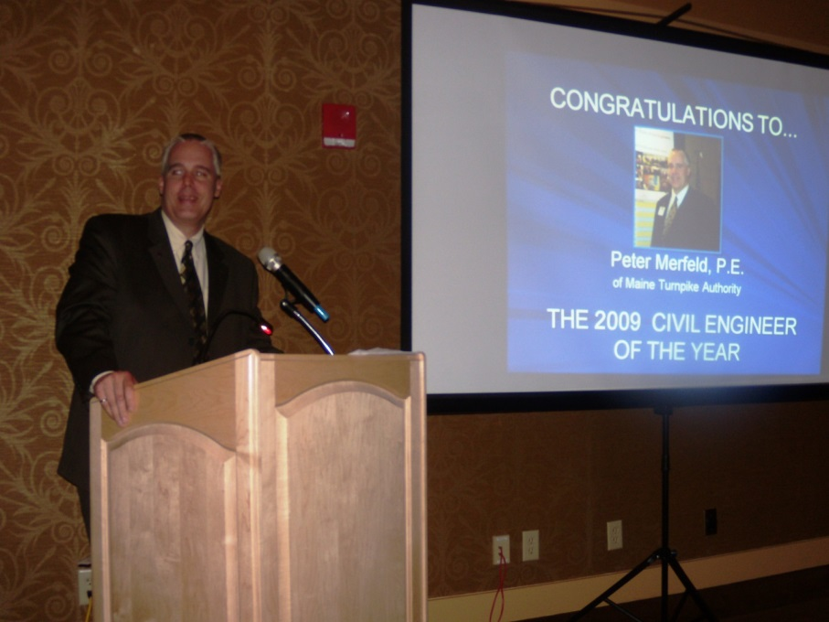 Peter Merfeld winning 2009 civil engineer of the year